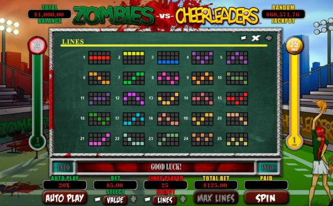 Cherry Red featuring the Video Slots Zombies vs Cheerleaders with a maximum payout of $5,000