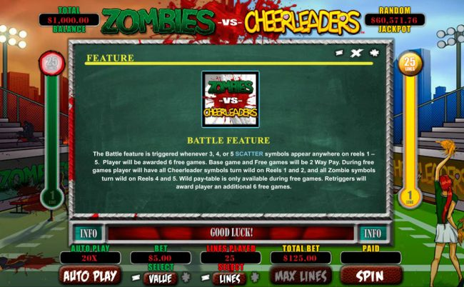 Ignition featuring the Video Slots Zombies vs Cheerleaders with a maximum payout of $5,000