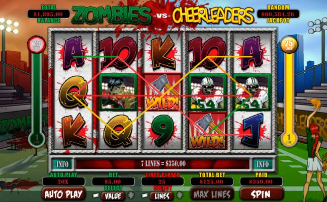 Ruby Slots featuring the Video Slots Zombies vs Cheerleaders with a maximum payout of $5,000