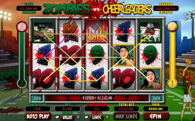 Palace of Chance featuring the Video Slots Zombies vs Cheerleaders with a maximum payout of $5,000