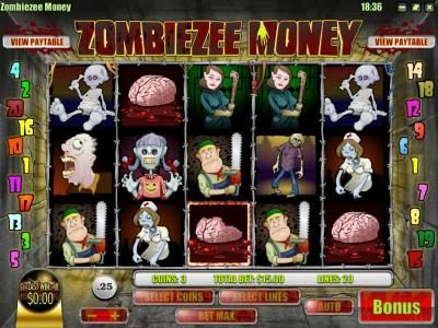 DaVincis Gold featuring the Video Slots Zombiezee Money with a maximum payout of $10,000