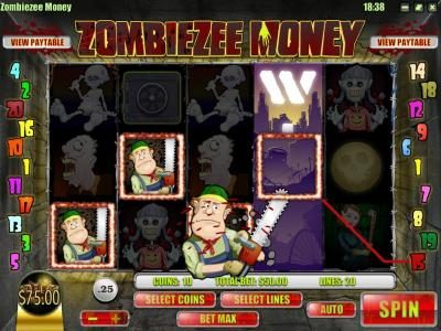 Vanguard featuring the Video Slots Zombiezee Money with a maximum payout of $10,000