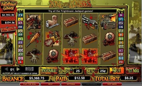 Play slots at Casimba: Casimba featuring the video-Slots Zone of the Zombies with a maximum payout of 6,00x