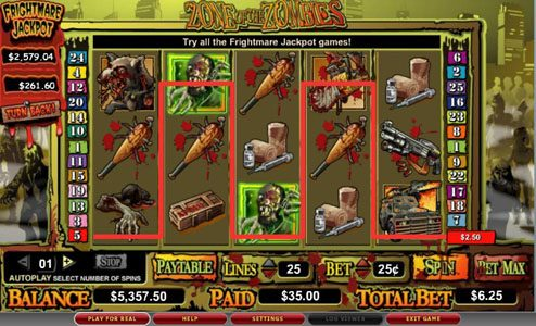 Fruity Vegas featuring the video-Slots Zone of the Zombies with a maximum payout of 6,00x