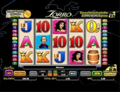 Play slots at Vegas Winner: Vegas Winner featuring the Video Slots Zorro with a maximum payout of $25,000
