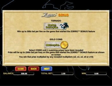 Videoslots featuring the Video Slots Zorro with a maximum payout of $25,000