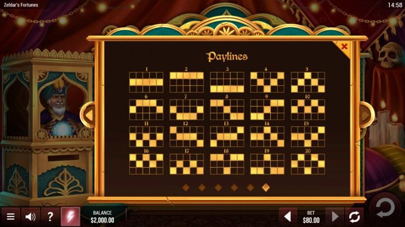 Zeldar's Fortunes :: Paylines 1-20