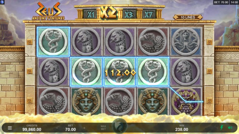 Play slots at Grand Hotel: Grand Hotel featuring the Video Slots Zeus Ancient Fortunes with a maximum payout of $91,875