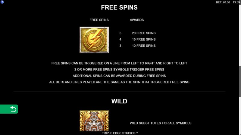 Zeus Ancient Fortunes :: Free Spins Rules