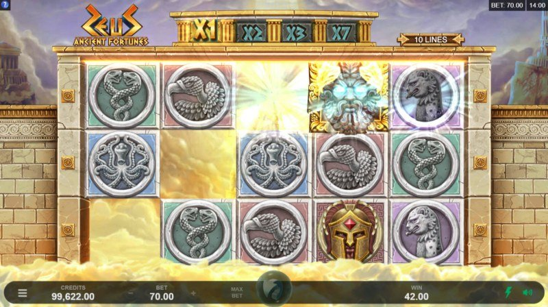 Zeus Ancient Fortunes :: Winning symbols are removed from the reels and new symbols drop in place