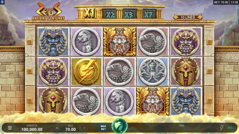 Play slots at Casiplay: Casiplay featuring the Video Slots Zeus Ancient Fortunes with a maximum payout of $91,875