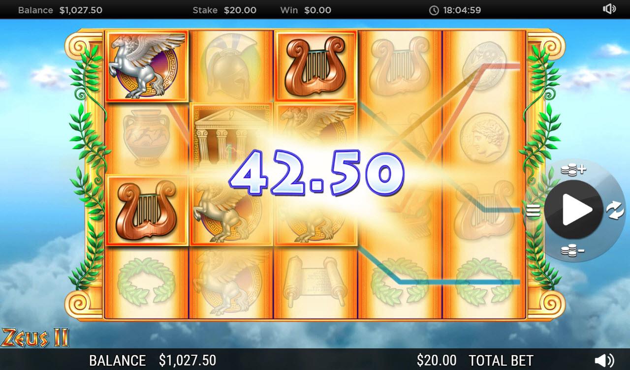Zeus II :: Multiple winning paylines