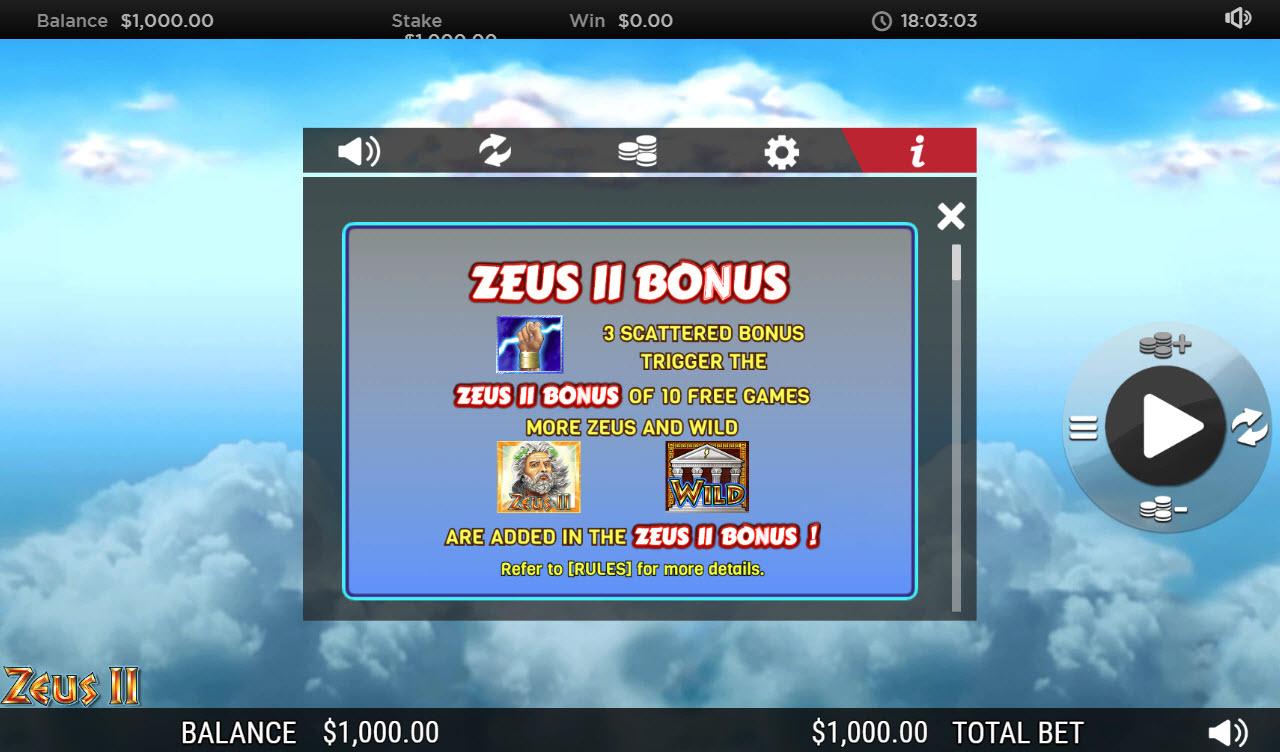 Zeus II :: Scatter Symbol Rules