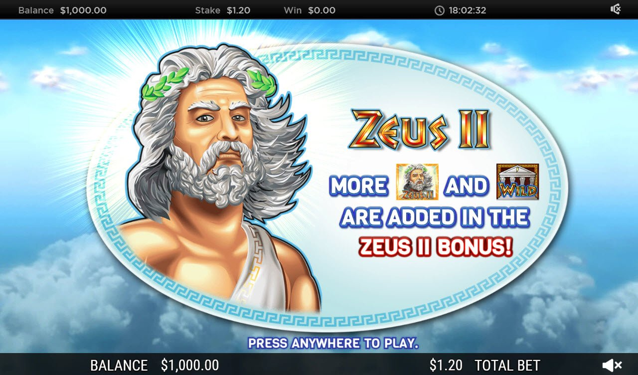 Play slots at Caesars: Caesars featuring the Video Slots Zeus II with a maximum payout of $250,000