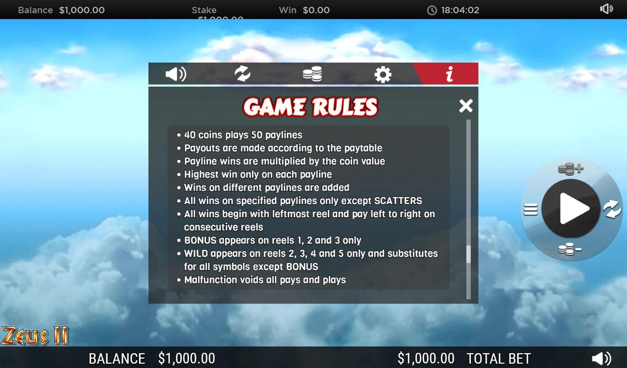 Zeus II :: General Game Rules