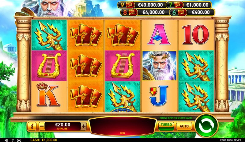 Zeus Rush Fever :: Base Game Screen