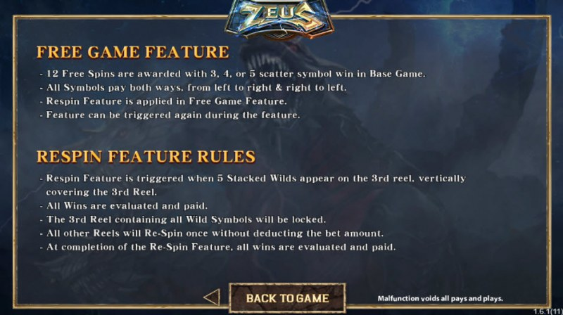 Zeus :: Free Spins Rules