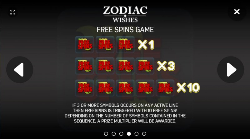 Zodiac Wishes :: Free Spins Rules