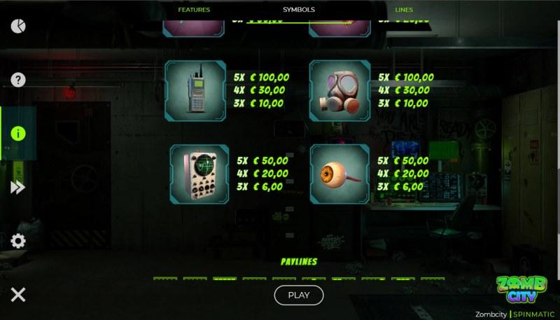 Zomb City :: Paytable - Low Value Symbols