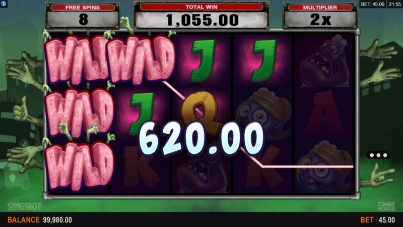 Zombie Hoard :: Stacked wild symbols triggers multiple winning paylines