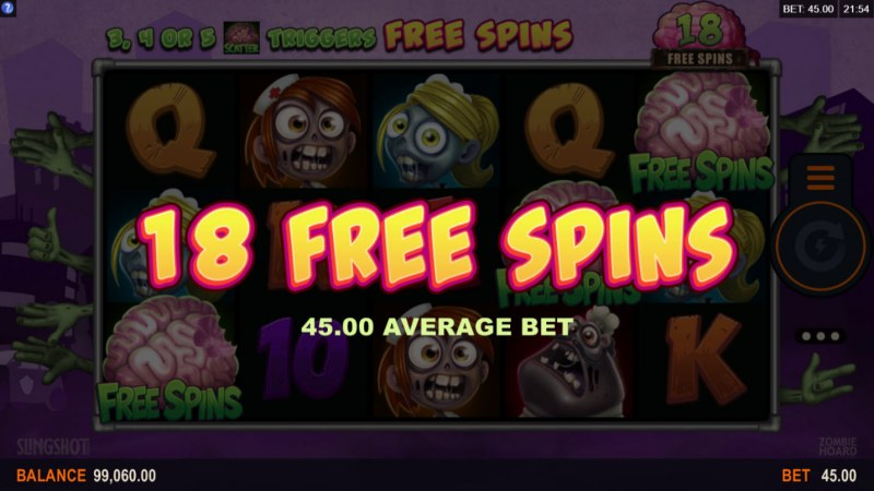 Zombie Hoard :: 18 Free Spins Awarded
