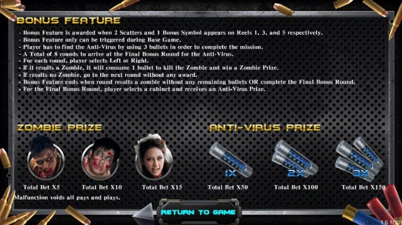 Zombie Hunter :: Bonus Game Rules