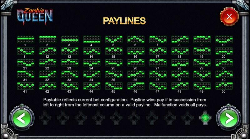 Zombie Queen :: Paylines 1-50