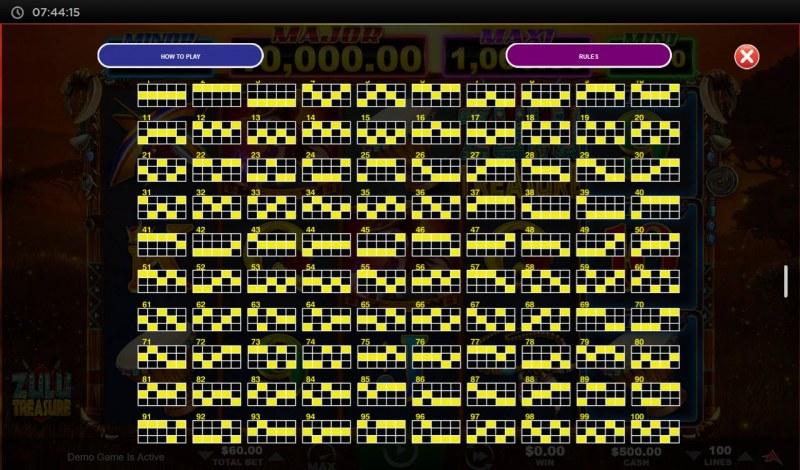 Zulu Treasure :: Paylines 1-100