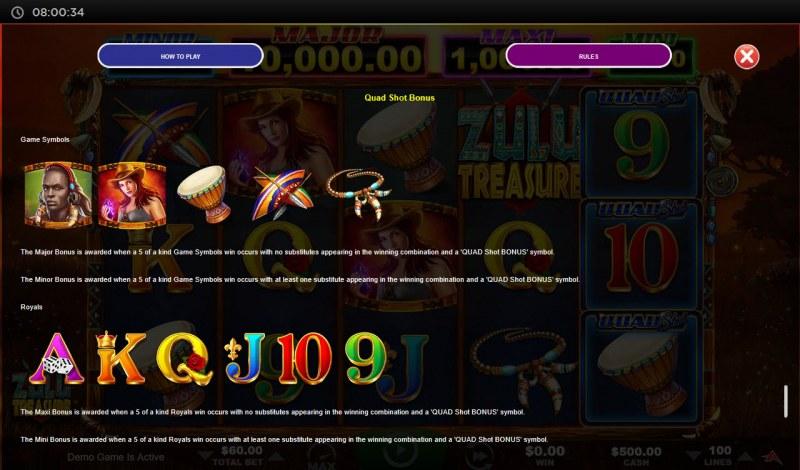 Zulu Treasure :: Quad Shot Bonus