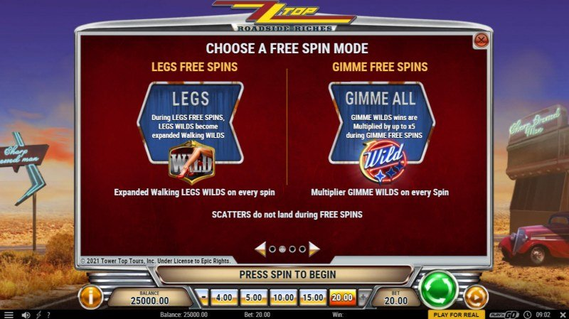 ZZ Top Roadside Riches :: Free Spin Feature Rules