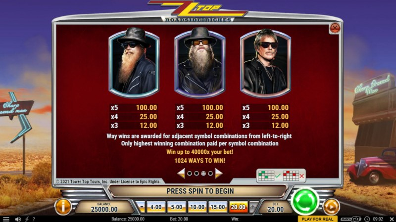 ZZ Top Roadside Riches :: Paytable - High Value Symbols