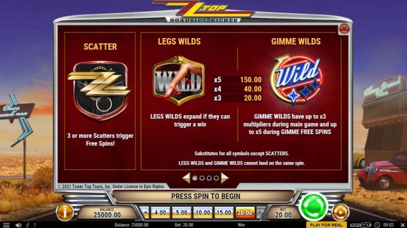 ZZ Top Roadside Riches :: Wild and Scatter Rules
